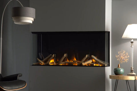 Image of Electric Modern Evonicfires 40 Inch Built-In Wall Mount 3-sided Electric Fireplace - E40-3S - Electric Fireplaces Depot