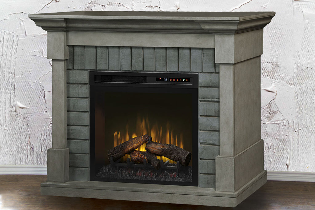 "Royce Electric Fireplace Mantel Package Smoke Stack Grey |  28"" XHD Firebox Logs 