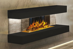 Electric Modern Evonicfires 44 inch Black Wall Mount 3-sided Electric Firepalce |  Compton 2 | Electric Fireplaces Depot
