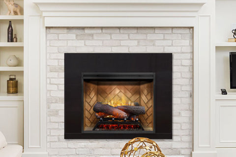 Image of Dimplex Revillusion 24 inch Built In Electric Fireplace Herringbone Brick- Firebox - Heater - RBF24DLX - Electric Fireplaces Depot
