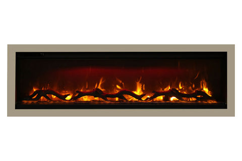 Image of Amantii Symmetry 42'' Built In Fully Recessed Flush Mount Linear Electric Fireplace | SYM-42 | Electric Fireplaces Depot