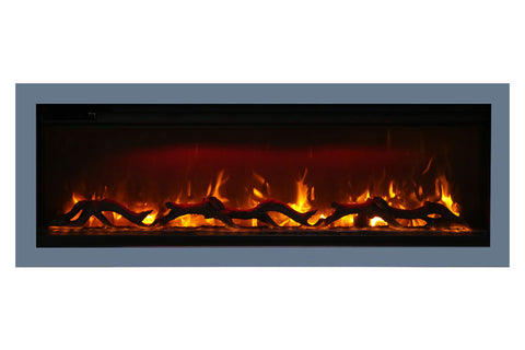Image of Amantii Symmetry 60'' Built In Fully Recessed Flush Mount Linear Electric Fireplace | SYM-60 | Electric Fireplaces Depot
