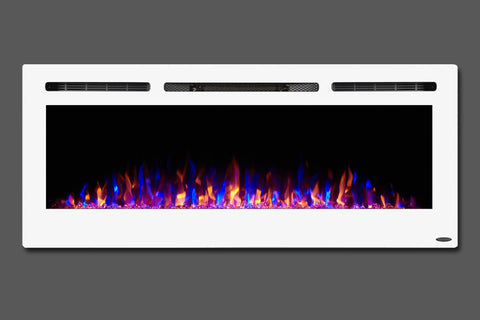 Image of Touchstone Sideline White 50'' Built-in Electric Fireplace - Heater - 80029 - Electric Fireplaces Depot