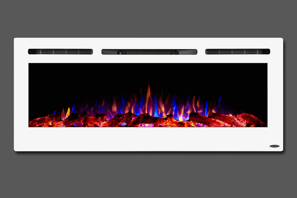Touchstone Sideline White 50'' Built-in Electric Fireplace - Heater - 80029 - Electric Fireplaces Depot