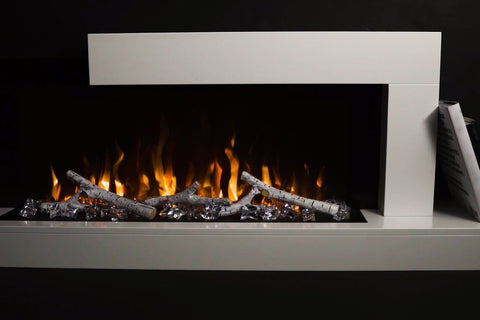 Napoleon Stylus Wall Mount Surface Mount Electric Fireplace with Shelf | NEFP32-5019W | White Modern Electric Firepalce with Logs and Crystals | Electric Fireplaces Depot