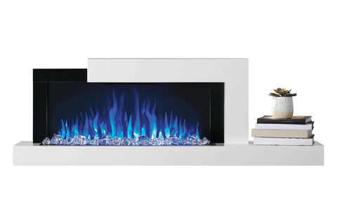 Image of Napoleon Stylus Cara Wall Mount Surface Mount Electric Fireplace with Shelf | NEFP32-5019W | White Modern Electric Firepalce with Logs and Crystals | Electric Fireplaces Depot
