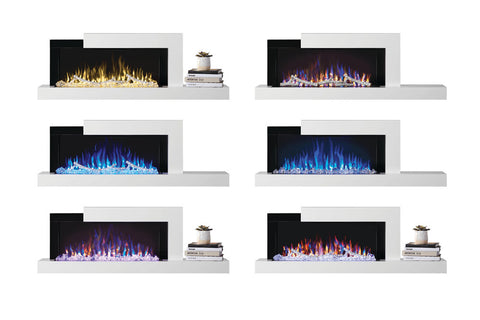Napoleon Stylus Cara Wall Mount Surface Mount Electric Fireplace with Shelf | NEFP32-5019W | White Modern Electric Firepalce with Logs and Crystals | Electric Fireplaces Depot