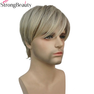 StrongBeauty Short Synthetic Men Wigs Mix Blonde Full Heat Resistant Capless Wig