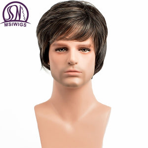 MSIWIGS Straight Short Synthetic Men Wigs Heat Resistant Male Natural Hair Ombre Man Wig