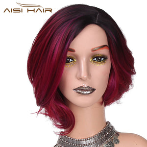 "I's a wig 12""Long  Synthetic Ombre Red Short Hair Wigs  for Women False Hair Can Be Cosplay"