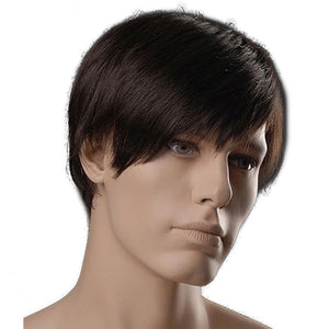 MSIWIGS 6 Inch Short Straight Synthetic Men Wigs Dark Brown Color Natural Male Wig with Side Bangs Heat Resistant Fiber