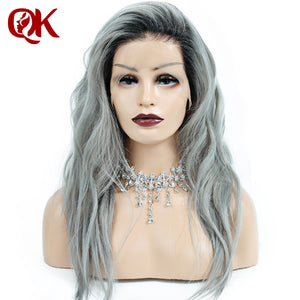 Queenking Hair 1B Grey Ombre Human Hair Wig with Baby Hair Pre Plucked Full Lace Wig Brazilian Remy Hair