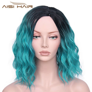 "I's a wig Synthetic Ombre Red Blue Pink Wigs Short  Black Hair for  Women's  14"" Long  Water Wave  False Hair"