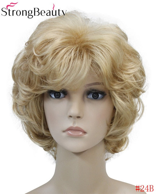 Strong Beauty Ladies Wigs Short Wavy Golden Blonde Hair For Women Synthetic Capless Full Wig 16 Colors
