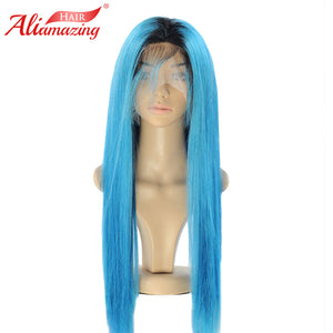 Ali Amazing Brazilian Silky Straight Lace Front Wig Remy Hair Ombre Blue Human Hair Wigs With Baby Hair and Hairline