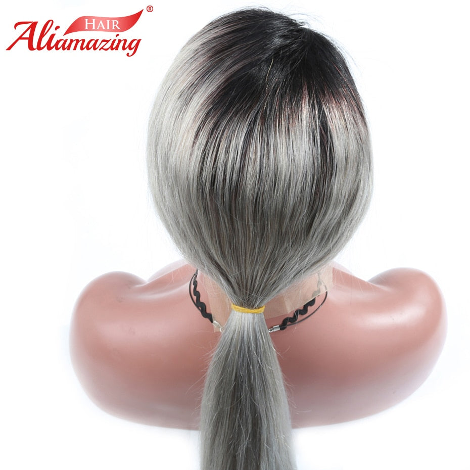 Ali Amazing Hair Ombre Grey Glueless Lace Front Wig with Baby Hair 130% Density Brazilian Lace Front Remy Human Hair Wig