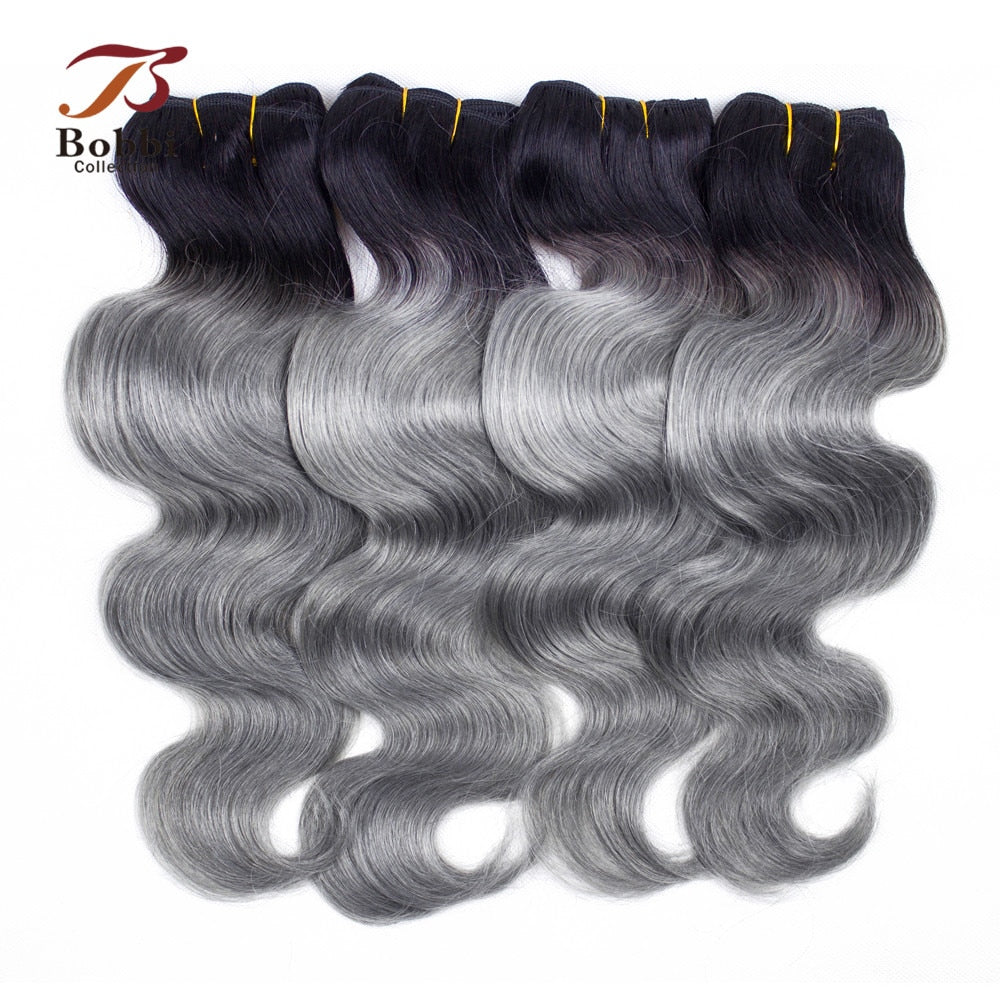 Bobbi Collection 3/4 Bundles Brazilian Body Wave T 1B Dark Grey Two Tone Ombre Hair Weave Bundles Remy Human Hair Extension