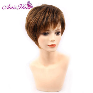 Amir blonde short female haircut, puffy straight pelucas pelo natural short Synthetic hair wigs for American Africa women