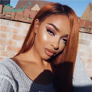 Qearl Silky Straight Dark 1B Root Ombre Human Hair lace Front Wigs Baby Hair Brazilian Remy 130 Density Pre Plucked for Women
