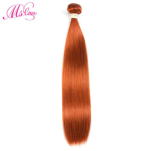 Ms Love Pre Colored #350 Orange Brazilian Hair Straight Human Hair Bundles 1 Piece Non Remy Human Hair Extension 100 Gram