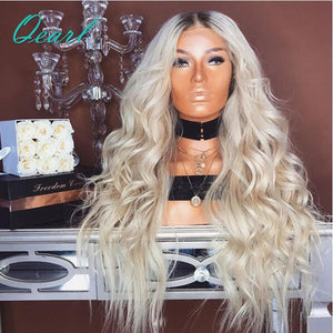180% Density Full Lace Human Hair Wigs Ombre 1B/613 Dark Roots Remy Hair Loose Wave Full Lace Wigs With Baby Hair Qearl Hair