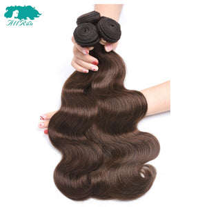 "Peruvian Body Wave 4# Light Brown 4 Bundles/Lot Free Shipping Human Hair Extensions 8""-24"" Non-Remy Hair Weave Allrun Hair"