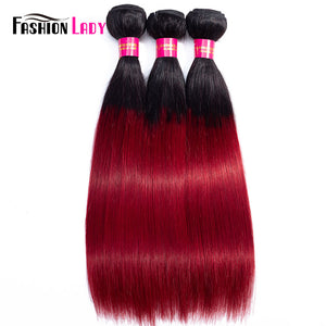 Fashion Lady Per-colored Brazilian Straight Hair 3 Bundles 1b/burgundy Hair Extensions Ombre Human Hair Weave Bundles Non Remy