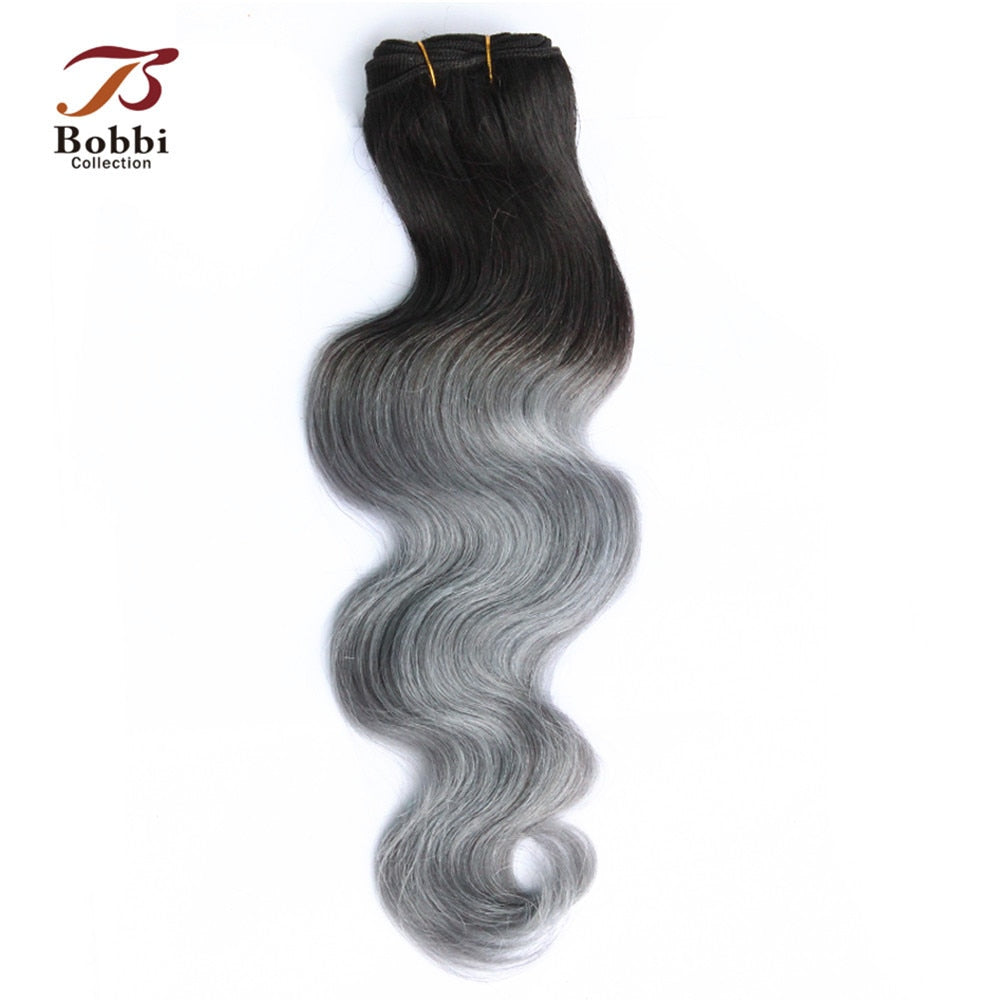Bobbi Collection 1 Bundle Brazilian Body Wave Two Tone T 1B Grey Remy Human Hair Extension Ombre Hair Weave Bundles