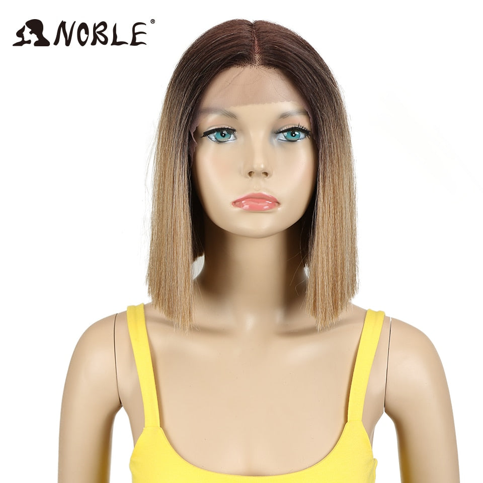 10 Inch 1B Color Short Straight Front Lace Wigs