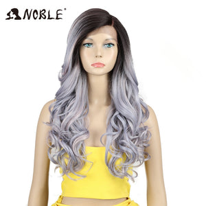 Noble Wigs Wave Lace Front Wigs Synthetic Hair 22 Inch Ombre Color Heat Resistant Wig Synthetic Lace Front Wig