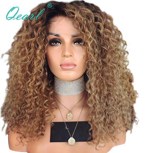 Glueless Human Hair Lace Front Wigs For Women Kinky Curly Afro Brazilian Remy Hair Ombre Color with dark Roots 13x4 Qearl
