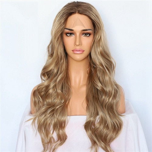 Lvcheryl Hand Tied Natural Wave Ombre Blonde Brown Hair Roots Wedding Hair Wigs Synthetic Lace Front Wigs for Women Daily Wear
