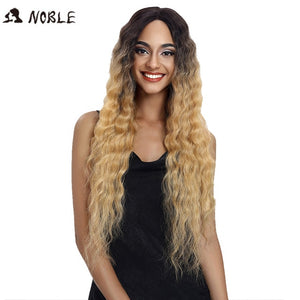 Noble Hair Lace Front ombre blonde Wig 30 Inch Long Wavy Dark Root Synthetic Wigs For Black Women 2 Colors Available Free Ship