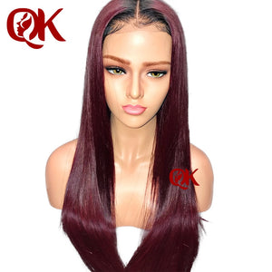 QueenKing hair Full Lace Wig 130% Density Lemi Color T1B/99J Ombre Colored Wigs 100% Brazilian Human Remy Hair