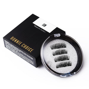 BONNIE CHOICE 3D Magnetic Eyelashes with 3 Magnet False Eyelashes Handmade Eye Lashes 4Pcs Eye Makeup Kit