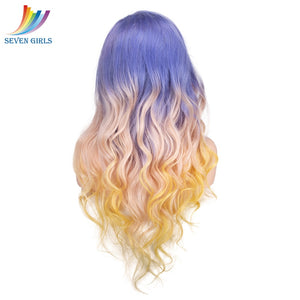 Sevengirls Purple/#613/Yellow Color Ombre Wigs Brazilian Wave Full Lace Human Hair wigs With Baby Hair 8-30 Inch Available