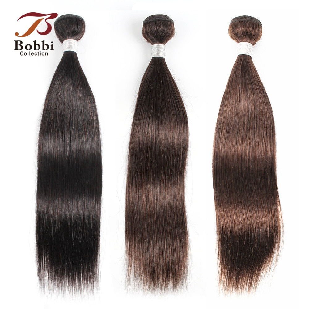 Bobbi Collection 1 Bundle Color 2 Dark Brown Indian Hair Weave Bundles Color 4 Straight Human Hair Weft Remy Hair Extension
