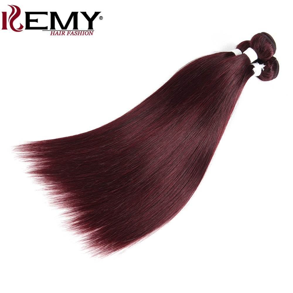 99J/Burgundy Brazilian Straight Human Hair Weaves Bundle KEMY HAIR 8 to 26 Inch Hair Weaving 1 PC Non Remy Hair Extensions