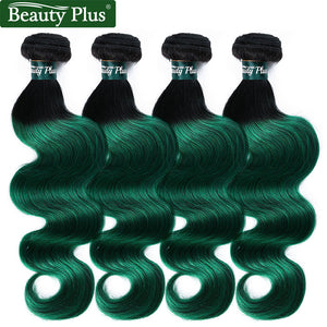 Beauty Plus Two Tones 1B Green Brazilian Hair Weave 4 Bundles Ombre Green Human Hair Body Wave Extensions Pre-Colored Non Remy