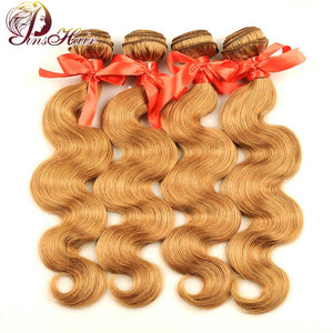 Pinshair 4 Pcs/Pack Body Wave Hair Honey Blonde Brazilian Hair Weave Bundle Deals #27 100% Human Hair Extensions Non Remy Hair