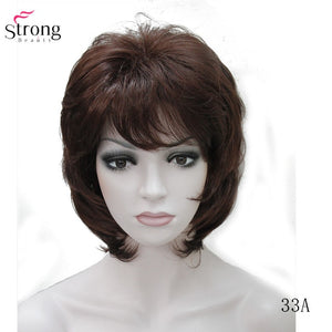 StrongBeauty Women Synthetic wig Short Hair Auburn/Blonde Natural wigs Capless Layered Hairstyles