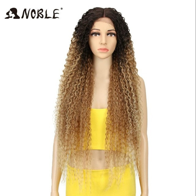 Noble Synthetic Wig Lace Front  For Women Long Part 38 Inch Long Curly Ombre Blonde Wig With Dark Roots Wavy Heat Resistant
