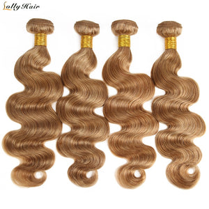 4PCS LOT Honey Blonde Brazilian Body Wave Hair Bundles 100% Human Hair Extensions 27# Light Brown Hair Weave Lolly Non Remy