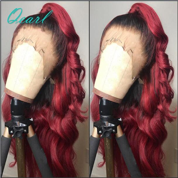 Free Style #1B/99J #1b/27 Ombre Color 13*6 Lace Frontal Body Wave Hair Wigs Pre Plucked Human Hair Wigs With Baby Hair Qearl