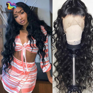 Pre-plucked Loose Wave lace front human hair wig Bleached Knots with baby hair Brazilian human hair lace front women's wig