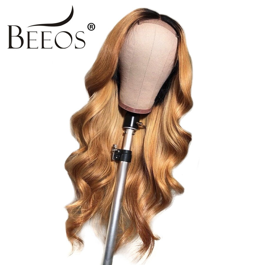 Body Wave 13*6 Brazilian Lace Front Human Hair Wigs With Baby Hair Ombre 1b/27 Honey Blonde Remy Wig Pre Plucked Bleached Knots