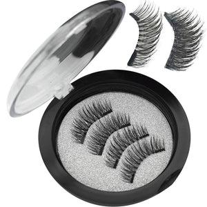 Wqzl 2 Pairs Magnetic Eyelashes With 2 Magnets Soft Lashes Handmade 3D Magnetic Lashes Natural False Eyelashes Double Magnet 24P