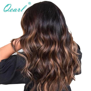 Glueless Human Hair Lace Front Wig 150% Remy Brazilian Hair Body Wave Ombre Highlights 1B/33/30# Color PrePlucked Hairline Qearl
