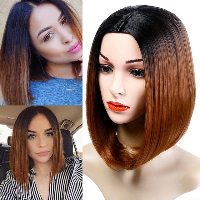 DIFEI Short Red Ombre Bob Middle Part Wig Shoulder Length Heat Resistant Synthetic Party  Cosplay Women's Hair Wigs Dark Roots