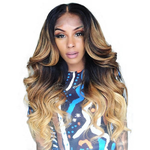Ombre Human Hair Wig Body Wave 150 Density Lace Front Wigs 613 Honey Blonde Colored 4x4 Lace Closure Wig Colored 1B/4/27 Remy
